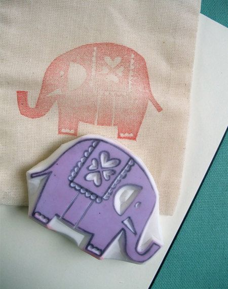 elephant hand carved rubber stamp - circus elephant - love hearts - handmade rubber stamp. $25,00, via Etsy.