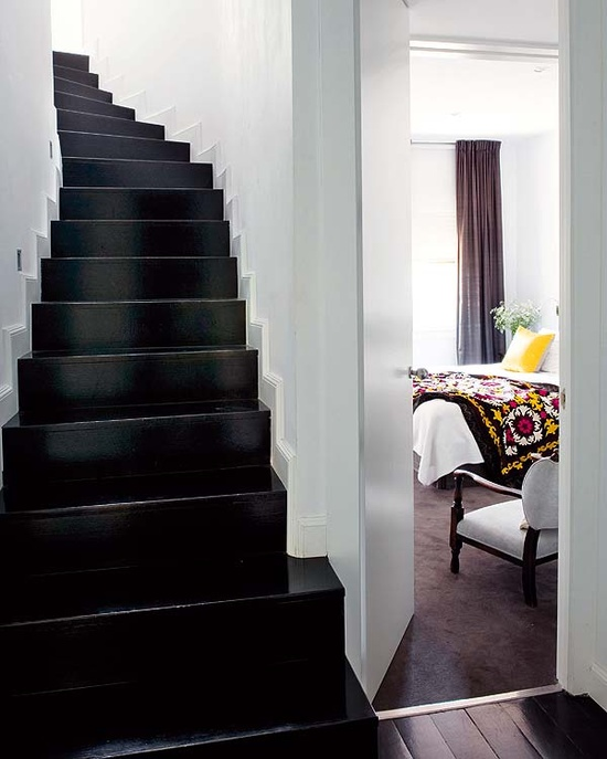 glossy black stairs - cool stuff on a budget...