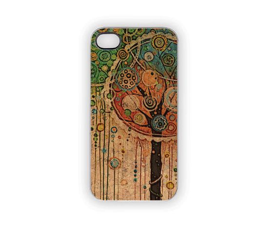 Woodland Tree Party iPhone Case 5 4S 4 Painted Boho by Inspireuart, #iPhone Cases #trees #nature #pink