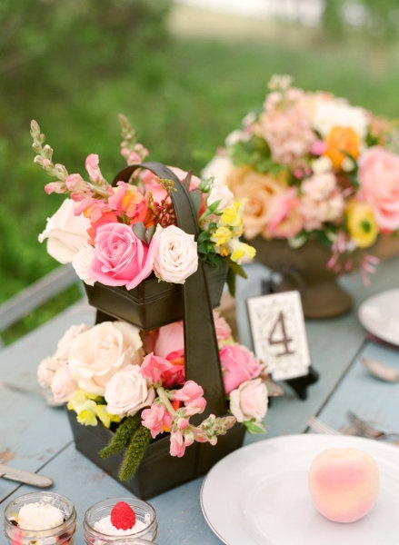 pale blush, peach, vibrant pinks, they are all making an appearance in these gorgeous centerpieces Photography and Creative Direction by alealovely.com, Floral and Set Design by victoriangardens.com