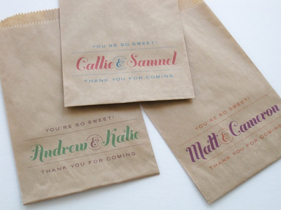 50 Script Kraft Favor Bags - Wedding Candy Lolly Buffet - Customize Text, Names & Colors