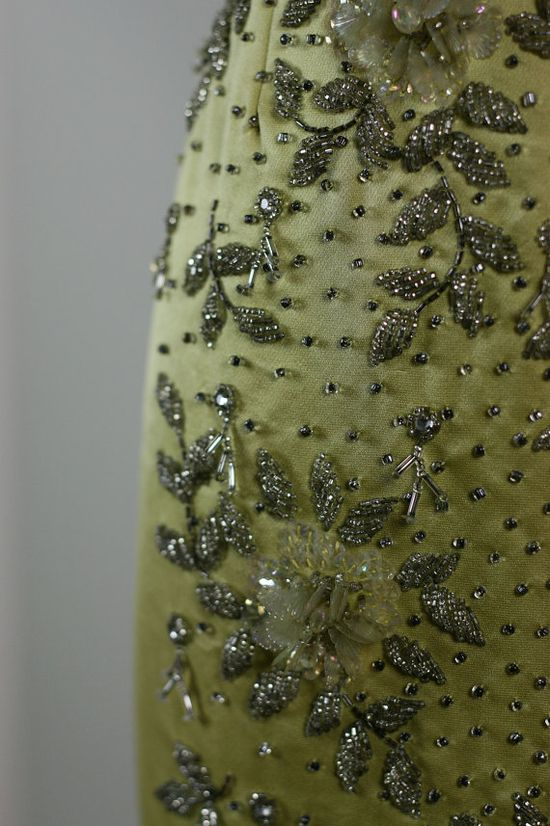 Detail of a 1950s dress embroidered in Hong Kong.