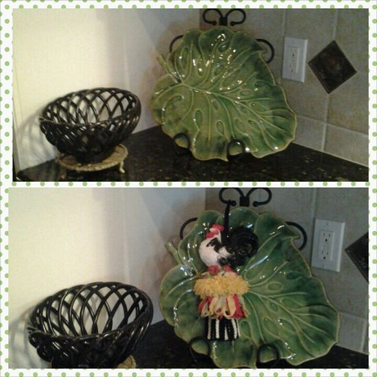 BEFORE and AFTER (Simply add a decorative tassel to a plate stand in the corner of your kitchen counter)