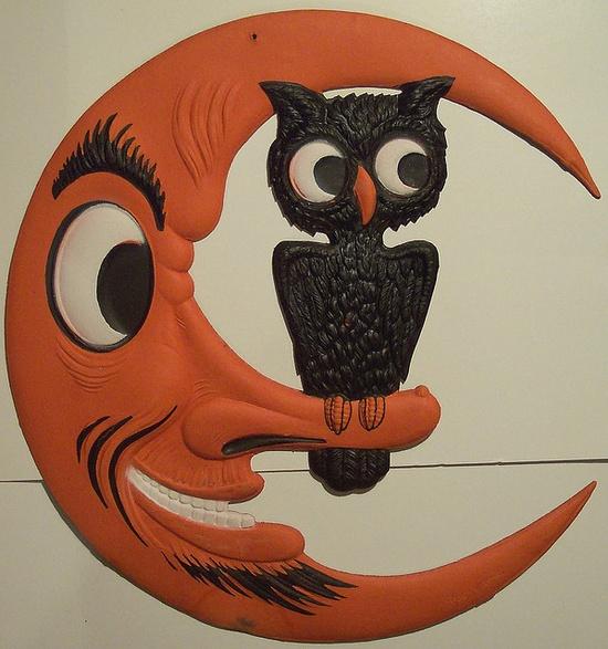 Vintage German Moon and Owl Halloween Diecut by riptheskull, via Flickr