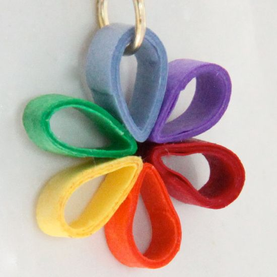 Eco Friendly Earrings Rainbow Flower Paper Quilled Handmade Artisan Jewelry. $12.00, via Etsy.
