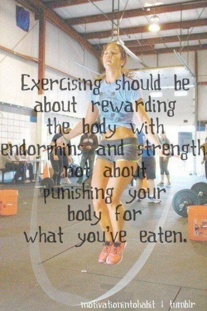 Exercising should be about _rewarding_ the body with endorphins and strenght, NOT about punishing your body for what you've eaten.