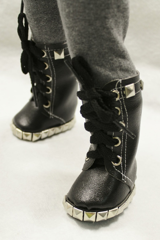 Close-up of boots made with a Miche Finds pattern (available through Liberty Jane).