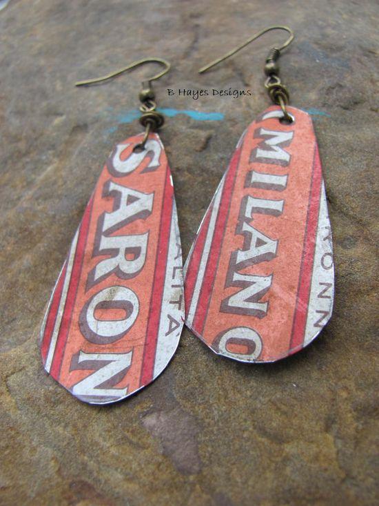 Vintage Tin Earrings by brendalou2 on Etsy, 8.00