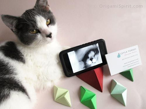 Origami Double-Pyramid Stand for iPhone or Business Cards