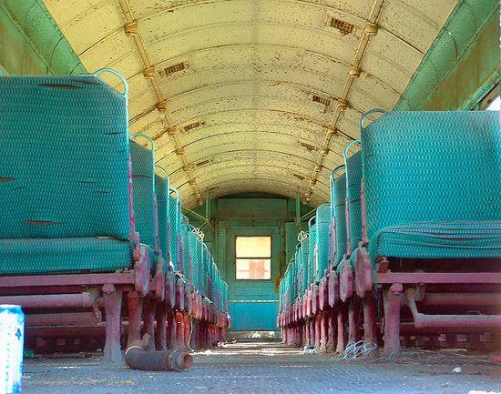 old passenger train at the Union Pacific railyard on Galveston Island, Texas.