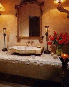 Spanish Powder Bathroom Design