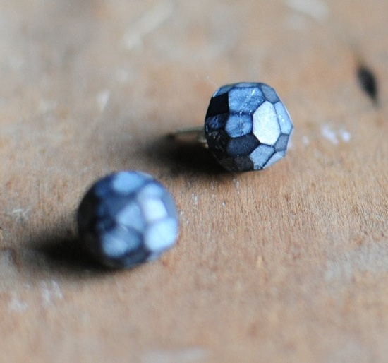 Fragment post earrings in Coal. $16.00, via Etsy.