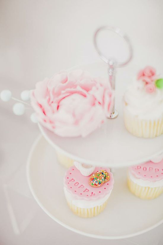 Love these cupcakes at a Pastel Milk and Cookies Party with So Many Really Cute Ideas via Kara's Party Ideas