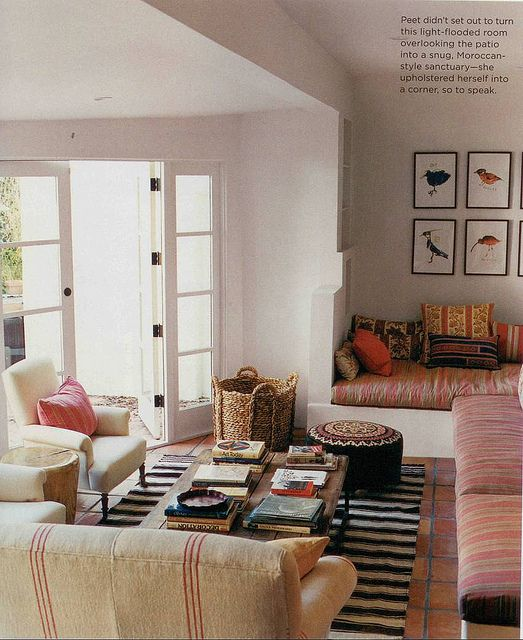 Lots of mixed patterns... I like it! Amanda Peet / Nathan Turner / Estee Stanley / Coliena Rentmeester / Domino {eclectic vintage bohemian rustic modern living room} by recent settlers, via Flickr
