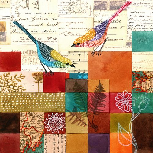 birds    #mixed media