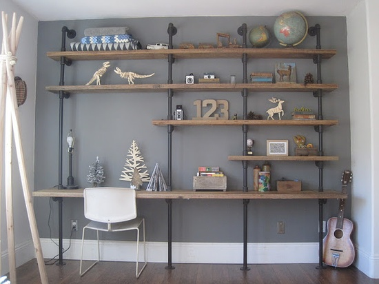 DIY: Home Works// Pipe Shelf Unit via House Inhabit (This is my dream shelving unit and desk combo that appeared on @Elsie Larson of A Beautiful Mess blog) I prefer this to all other systems because of the wood and pipe size.