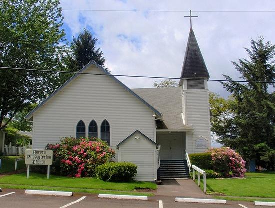 Old country church...Aurora Presbyterian Church by eg2006, via Flickr #aurora #oregon #white #country #church #chapel #wood #steeple