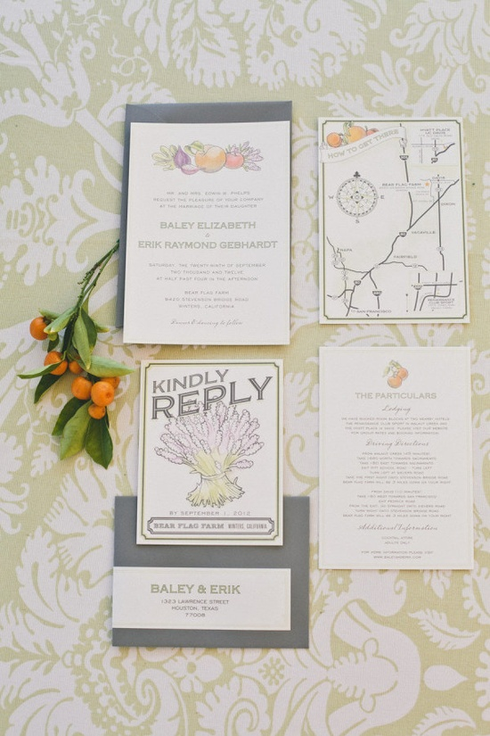 Invitations from www.hellolucky.com/ Photography by onelove-photo.com, Floral   Wedding Design by bearflagfarm.com