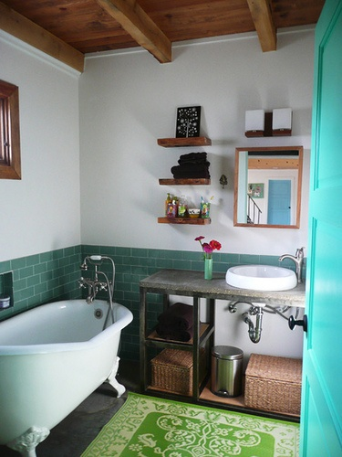 mix of modern and vintage bathroom