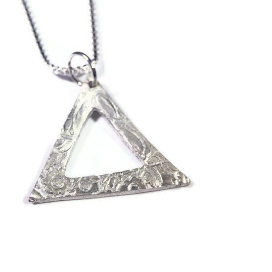 Geometric Fine Silver Artisan Necklace, $32.00