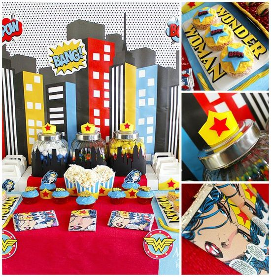 Wonder Woman Party with So Many Awesome Ideas via Kara's Party Ideas