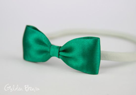 Emerald Headband  - Small Satin Emerald Green Bow Handmade Headband