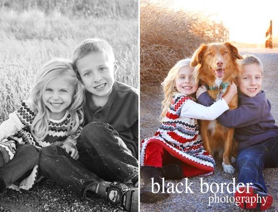 cute kids & red dog!