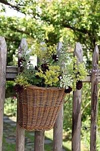 Basket as flower pot on fence