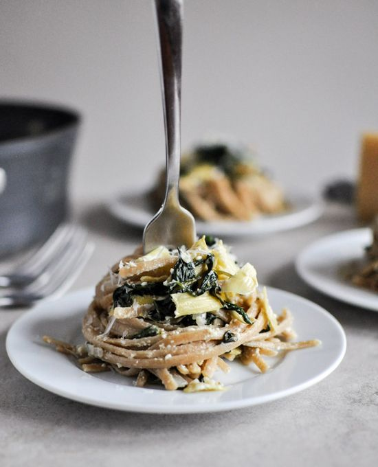 Spinach and artichoke linguine.