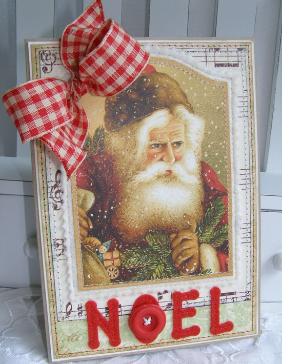 Old World Santa Noel Handmade Christmas Card.