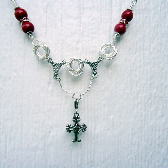 Silver Cross Necklace Red Necklace Unique Handmade by cdjali, $25.00