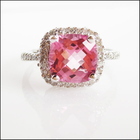 Cushion cut pink Topaz and Diamonds engagement by CreativeENCI, $1125.00