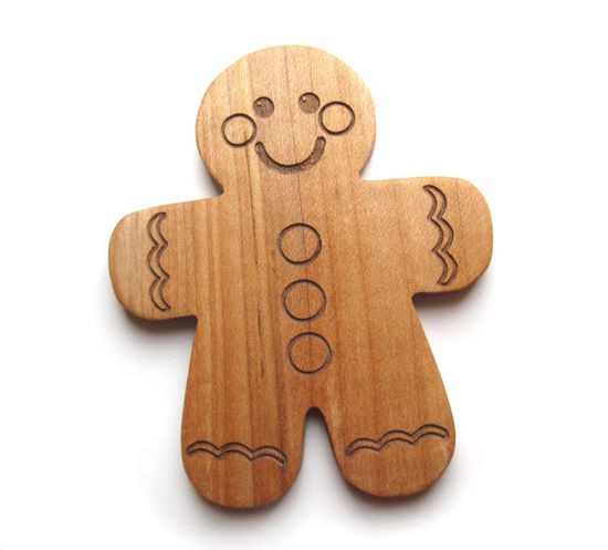 Gingerbread man - Baby's first toy cookie teething toy wood