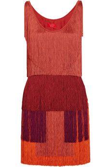 Lanvin Tiered-fringe silk-satin dress