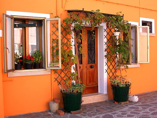 Orange houses exterior house colors - Orange exterior paint decor ...