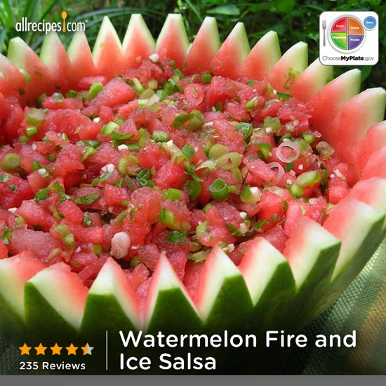 Watermelon Fire and Ice Salsa from Allrecipes.com #myplate #MyPlateBirthday #fruit #veggies