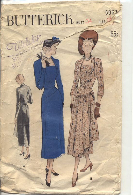 Butterick 5063 Misses 1940s Dress Pattern Draped by CynicalGirl, $48.00
