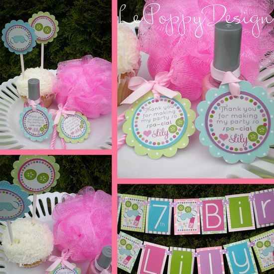 Spa Birthday Party Decorations Package Spa Day by LePoppyDesign, $105.00