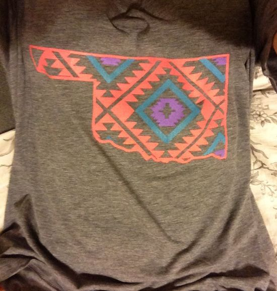 Oklahoma and Navajo print tee by YOStees on Etsy, $25.99
