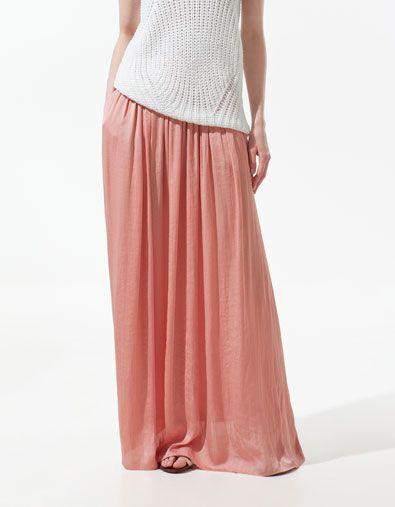 pink long skirt