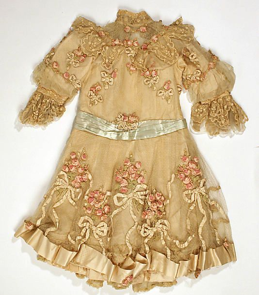 embroidered net, lace and silk child's dress (wedding attire) ... House of Paquin, c. 1900-10