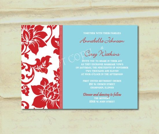 Blue and red wedding invitations