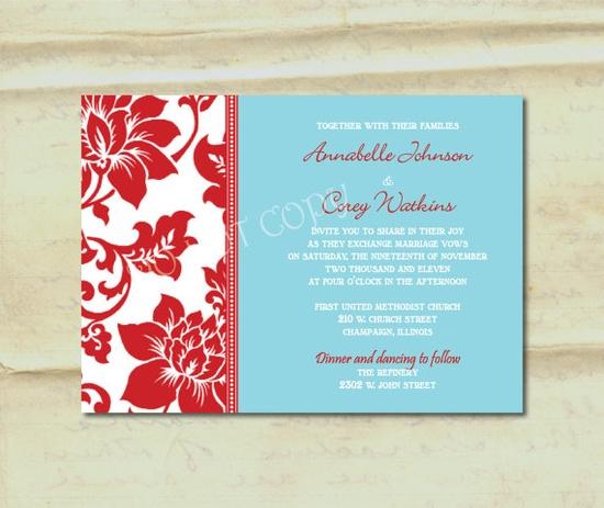 Wedding Invitation Aqua and Red Damask