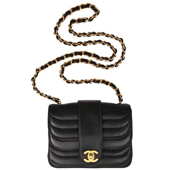 Vintage Dark Blue Chanel Leather Handbag