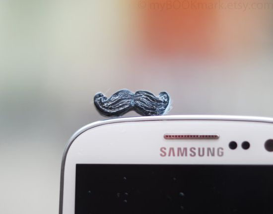 Mustache phone accessory Movember plug for earphone by MyBookmark, $6.50