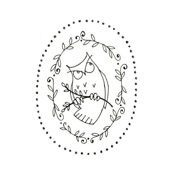 Owl Embroidery Pattern Woodland Critter Digital Downloadable. $2.00, via Etsy.
