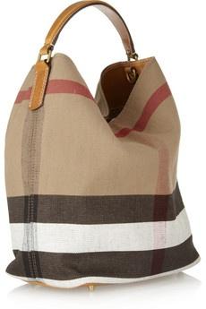 Burberry Susanna Checked Canvas Hobo Bag ??