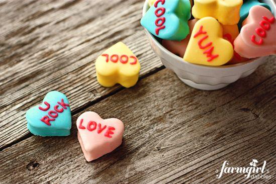 Homemade Marshmallow Conversation Hearts.  So cute! via @farmgirlsdabble
