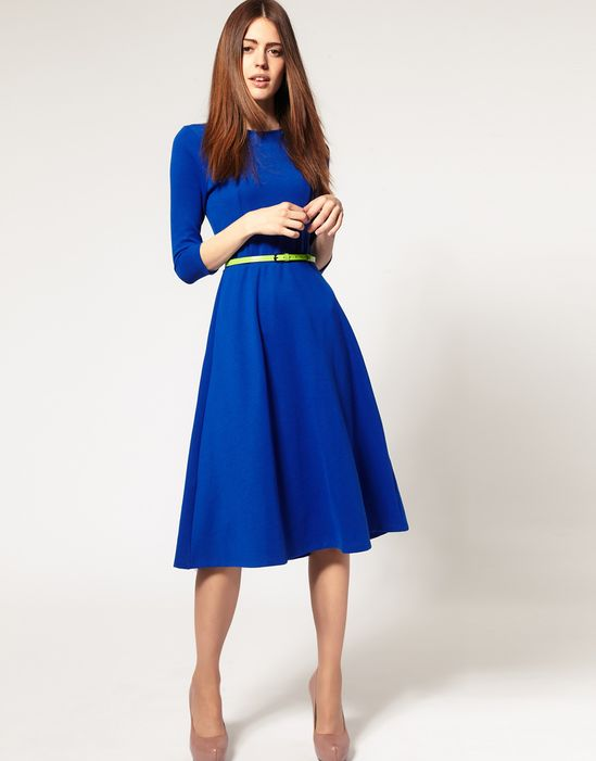 Premiere party?   Aline midi dress - LOVE this bright color! The 3/4 length sleeve and skirt are perfect for winter.