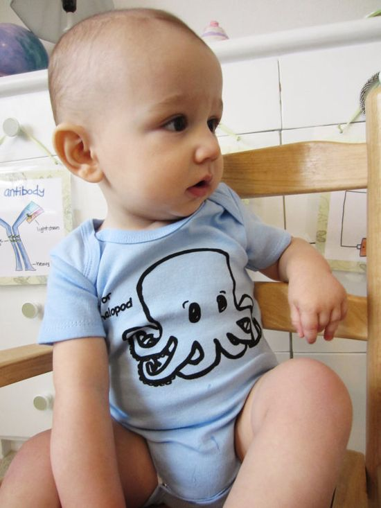 Funny baby onesie. C is for cephalopod screen printed one piece. Sizes newborn through 18 months. Nerdy baby alphabet. on Etsy, $18.00